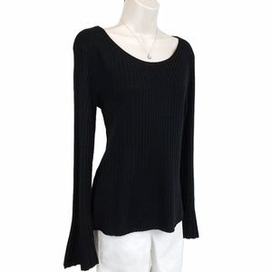 Elie Tahari sweater wool bell sleeve black M